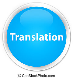 Translation premium cyan blue round button