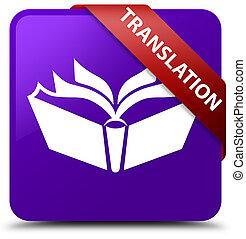 Translation purple square button red ribbon in corner