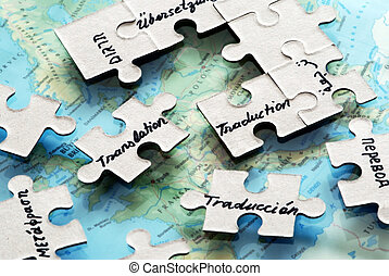 Translation - puzzle piece for translation in different...