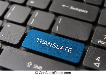 Translation service concept on laptop keyboard - Language...