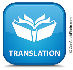Translation special cyan blue square button