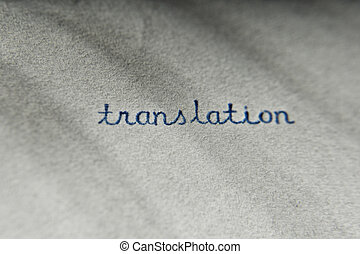 Translation typewritten on a vintage paper, shallow DOF and ...