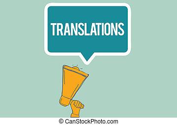translations., taal, zakelijk, proces, foto, het tonen, een, het vertalen, teksten, hand, een ander, tekst, conceptueel, schrijvende