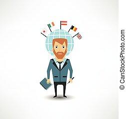 translator, beszél, különböző, nyelvek