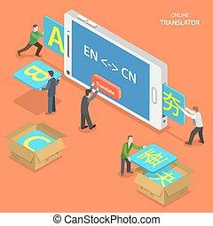 translator, concept., isometrico, vettore, linea, ...