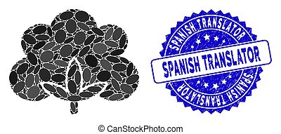 translator, espanhol, algodão, flor, selo, mosaico, arranhado, ícone