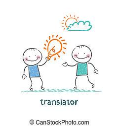 translator gives an idea man