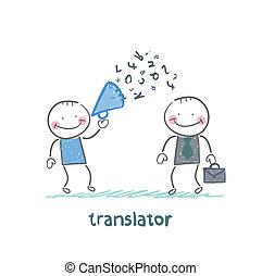 translator, gridare, megafono, ascolta, uomo affari