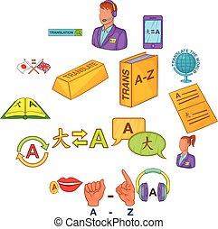 Translator icons set cartoon style
