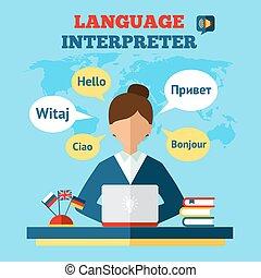translator, język, ilustracja