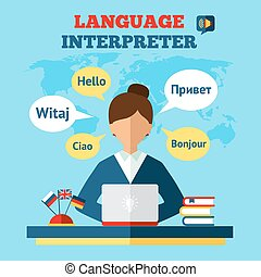 translator, lingua, illustrazione