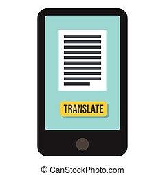 Translator on phone icon, flat style