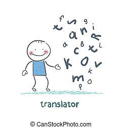 translator, pensare, circa, lettere