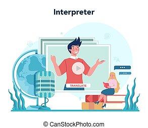 translator, polyglot, tradurre, concept., servizio, ...