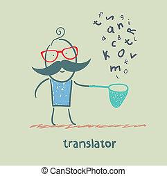 translator, prese, lettere, rete pesca