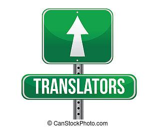 translator road sign illustration design over a white background