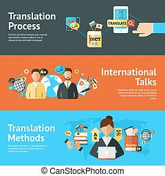 translator, set, bandiera, lingua