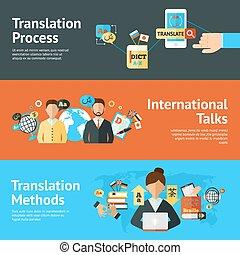 translator, set, spandoek, taal