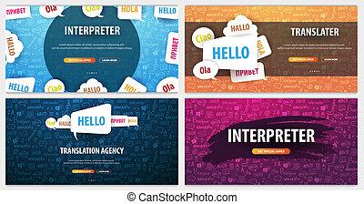 translator, set, taal, interpreting., doodle, agentschap, het vertalen, achtergrond., concept, banieren, hand-draw