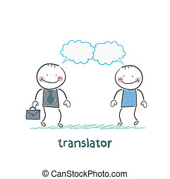 translator speaks with a businessman