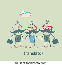translator, straniero, uomini affari, aiuta