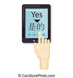 translator, telefono, stile, cartone animato, icona