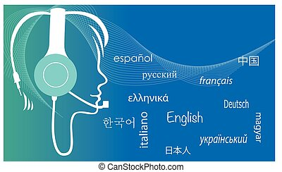 Translator/multilingual assistant - Head profile with words...
