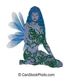 Translucent blue fairy sitting down