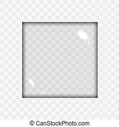Translucent Empty Glass Square Lens Shape