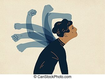 Translucent ghostly hands beating man. Concept of psychological self-flagellation, self-punishment, self-abasement, self-harm guilt feeling. Colorful vector illustration in modern flat style