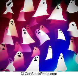 translucent ghosts, halloween background illustration