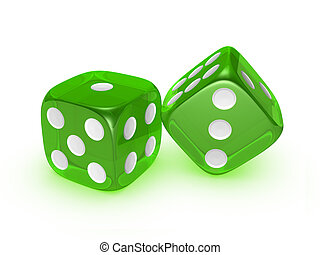 translucent green dice on white background
