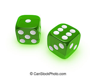 translucent green dice on white background - green...