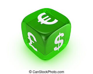 translucent green dice with currency sign - one translucent...
