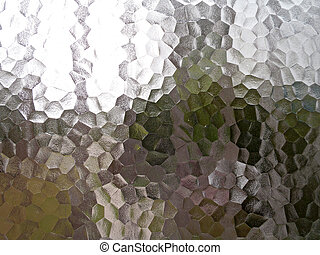 Translucent pentagon background with a frosted ice or glass...