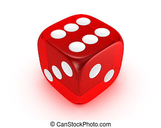 red translucent dice isolated on white background