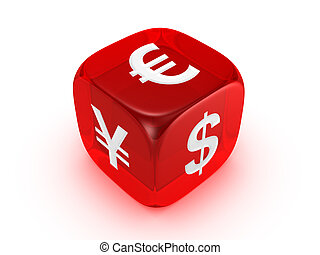 translucent red dice with currency sign