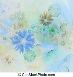 Translucent, soft and tender flowers and pastel bubble texture (flower abstract pattern computer generated fractal with floral elements)