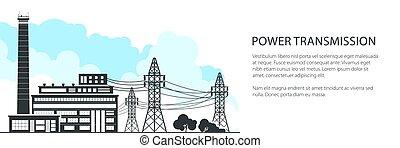 transmisión, bandera, energía eléctrica