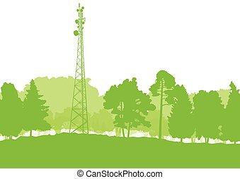 transmisión, comunicación, antena