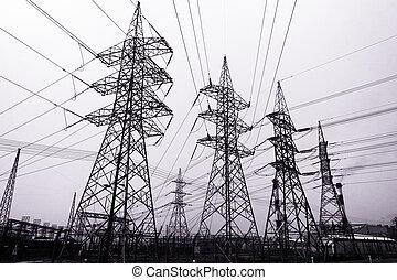transmisión, de alto voltaje, potencia, remolque