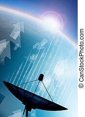 transmisión de datos, plato basado en los satélites