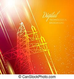 transmisión, energía eléctrica, tower.