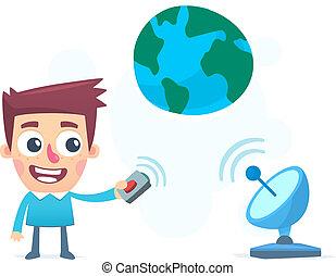 transmisión, información, entero, mundo