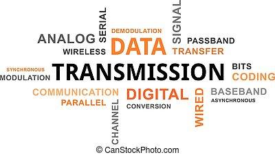 transmisión, palabra,  -, nube, datos