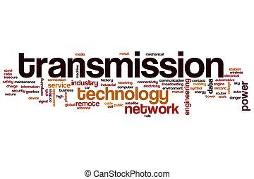 transmisión, palabra, nube