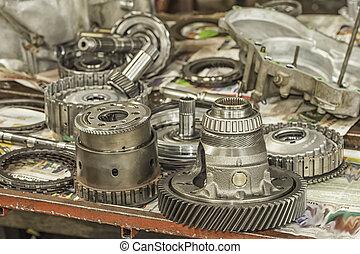 transmisión, partes, automático