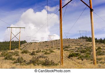 transmisión, postes, potencia
