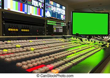 transmisión, -, switcher, vídeo, batidora, estudio, visión, ...