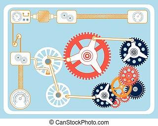 transmisja, płaski, projektować, mechanizmy